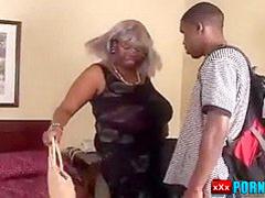 Big Busty ebon gramma takes her boy