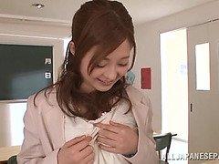 Innocent looking teacher Rina Ishihara in threesome sex