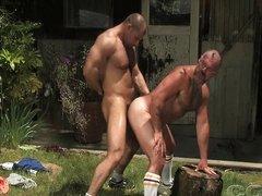 Muscle bears outside
