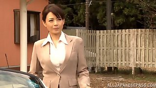 Hot japanese mature milf spreads out legs in a car for pussy plowing