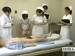Subtitled CFNM Japanese doctor nurses blowjob seminar