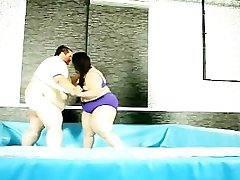 Fat and huge-boobed bbw wrestles in the ring