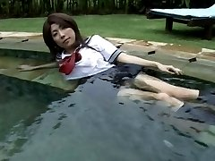 FUJIIKE Remi high school uniform in the pool