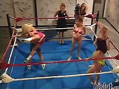These sluts have huge hooters as they wrestle