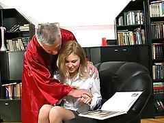 blonde schoolgirl learns sex with not her granpa teacher