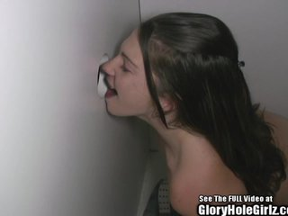 Pink Fishnet Teen Sperm Whore in Glory Hole
