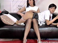 Mature lesbian woman spanking a dirty girl's firm ass