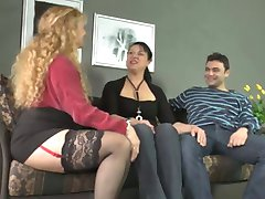 mature blonde joins in with couples